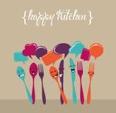 Happy social media kitchen set Royalty Free Stock Image