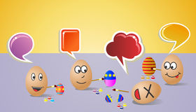 Happy social painters Easter eggs Royalty Free Stock Photography