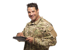 Happy Soldier With Digital Tablet stock images