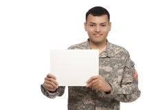 Smiling soldier with blank sign Stock Photos
