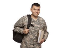 Smiling soldier with back pack and files Royalty Free Stock Photo