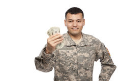 Happy soldier holding money Stock Images