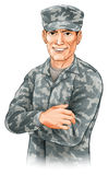 Happy soldier. An illustration of a smiling soldier wearing camouflage combat uniform with his arms folded vector illustration