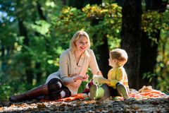 Happy son with mother relax in autumn forest. Mother love her small son child. Spring mood. Happy family day. Sunny. Weather. Healthy food. Family picnic stock images