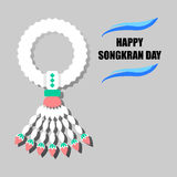 Happy Songkran Day background with jasmine garland Stock Photo
