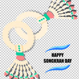 Happy Songkran Day background with jasmine garland Stock Photos