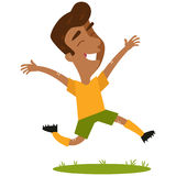Happy south american cartoon footballer jumping joyfully Royalty Free Stock Photos