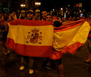 Happy spain fans Stock Photo