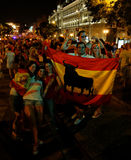 Happy Spanish fans Stock Image