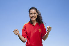 Happy spanish supporter Royalty Free Stock Image