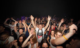 Happy spectators at Armin van Buuren show Stock Image
