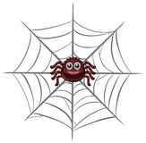 Happy spider on the web. Illustration Royalty Free Stock Photos