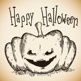 Happy and Spooky Halloween Hand Drawn Pumpkin Stock Images
