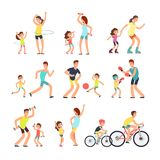 Happy sport family. Mom, dad with kids doing sports exercises outdoor. Parents and children in fitness activity vector. People active with children illustration royalty free illustration