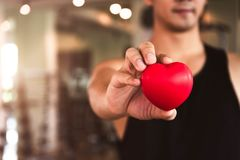 Happy sport man holding red heart in fitness gym club. Medical cardio heart strength training lifestyle. Handsome sport male stock photos