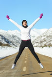 Happy sport running woman jumping stock photography