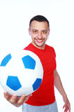 Happy sportive man holding soccer ball Royalty Free Stock Photo