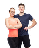 Happy sportive man and woman Stock Image