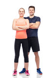 Happy sportive man and woman Royalty Free Stock Image