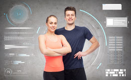 Happy sportive man and woman Royalty Free Stock Images