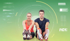 Happy sportive man and woman Royalty Free Stock Photos