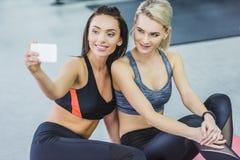 happy sportive women taking selfie royalty free stock photos