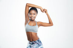 Happy sports afro american woman stretching hands Royalty Free Stock Photo