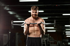 Free Happy Sports Man Make Sport Exercises With Barbell Royalty Free Stock Photos - 92604628