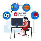 Happy sportsman sit in front computer, search and buy. With football, table tennis, basketball, tennis  icon from e-commerce. Shopping online. Vector Stock Images