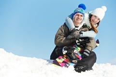 Happy sportswoman with snowboard Stock Photo