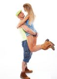 Happy sporty casual couple Stock Photography