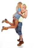 Happy sporty casual couple Stock Images