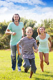 Happy sporty family of three Stock Photo