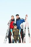 Happy sporty family at winter Royalty Free Stock Photography