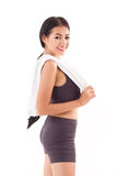 Happy, sporty, fitness woman posing with towel Stock Images