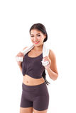 Happy, sporty, fitness woman posing with towel Royalty Free Stock Photo