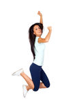 Happy Sporty Girl Jumping Stock Images