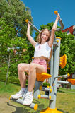 Happy sporty girl outdoors Stock Photo