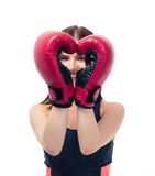 Happy sporty woman with boxing gloves Stock Photography