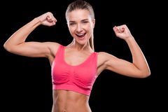 Happy sporty woman. Royalty Free Stock Photos