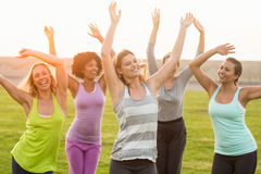 Happy sporty women dancing during fitness class Royalty Free Stock Photos