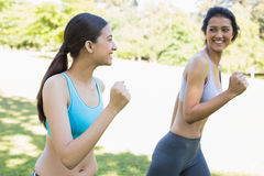 Happy sporty women jogging Stock Photos