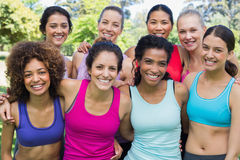 Happy sporty women at park Stock Image