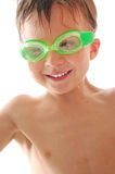 Happy spoty child with swimming goggles Stock Photos