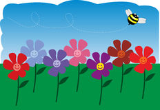 Happy spring. Smiling flowers in a garden with a bumblebee buzzing overhead stock illustration