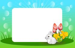 Happy Spring Background with Blank White Table Royalty Free Stock Image