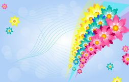Happy spring background with floral rainbow Stock Images