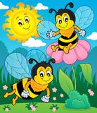 Happy spring bees theme image 2 Stock Photography