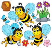 Happy spring bees theme set 1 Royalty Free Stock Images