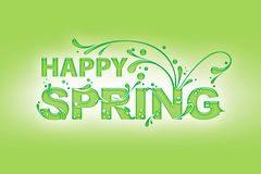 Happy Spring. 'Happy Spring' Card with tendril letters on a green background Royalty Free Illustration